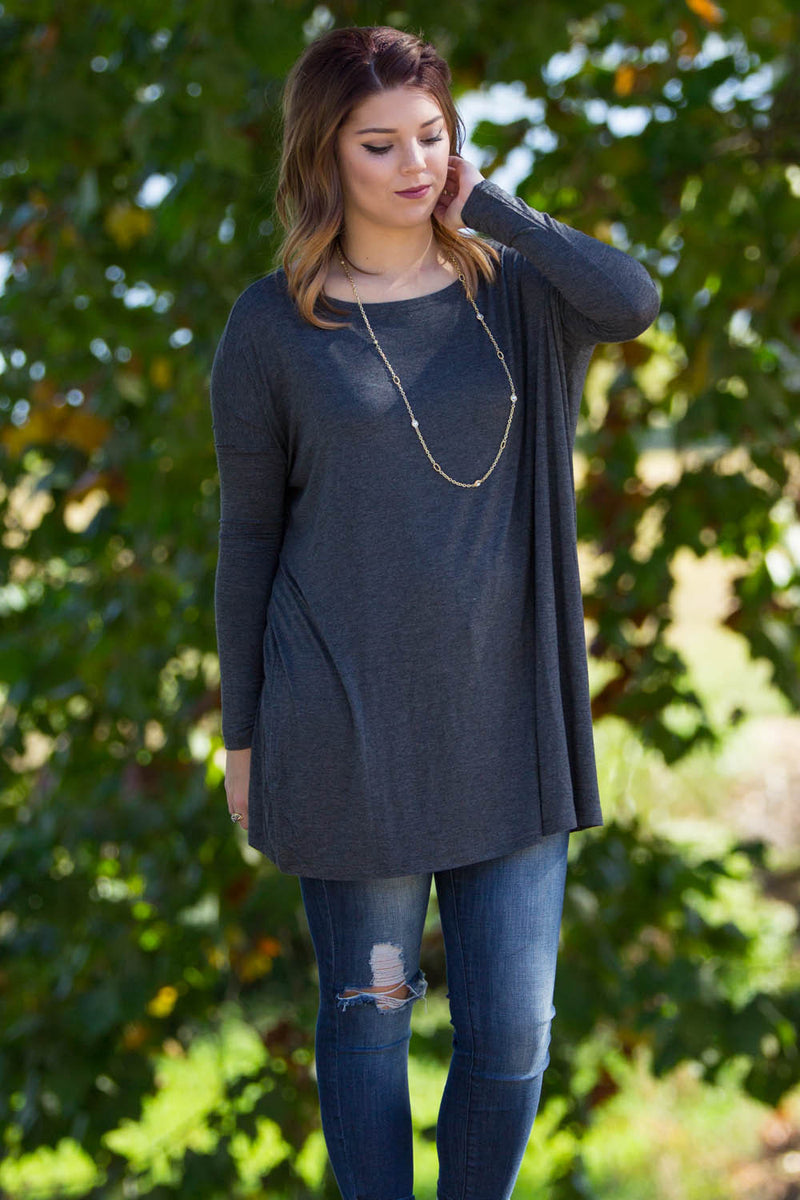 The Perfect Piko Tunic Top-Dark Heather Grey