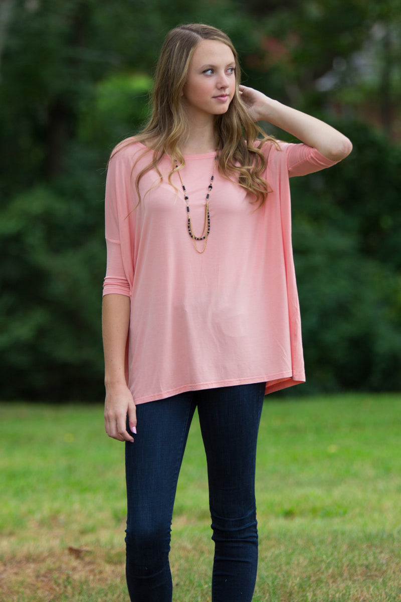 The Perfect Piko 3/4 Sleeve Top-Peach