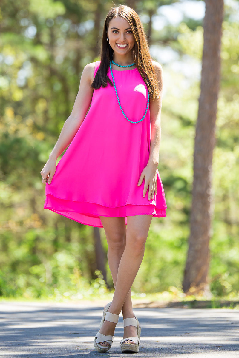 Everly-I'll Be With You Dress-New Fuchsia