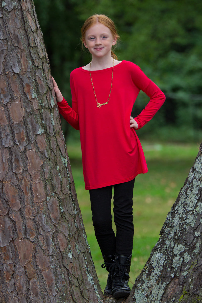 The Perfect Kids Long Sleeve Piko Top-Red
