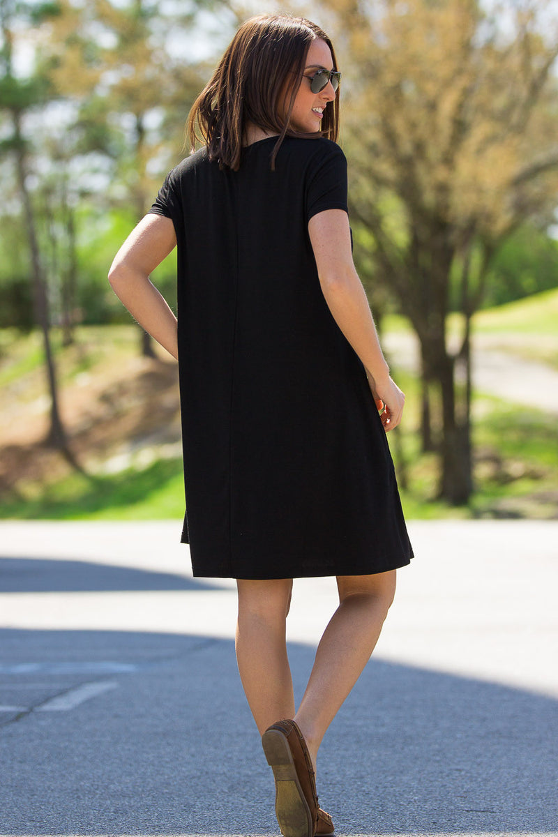 The Perfect Piko Short Sleeve Swing Dress-Black