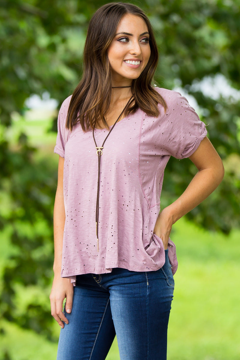 Hole In One Top-Mauve