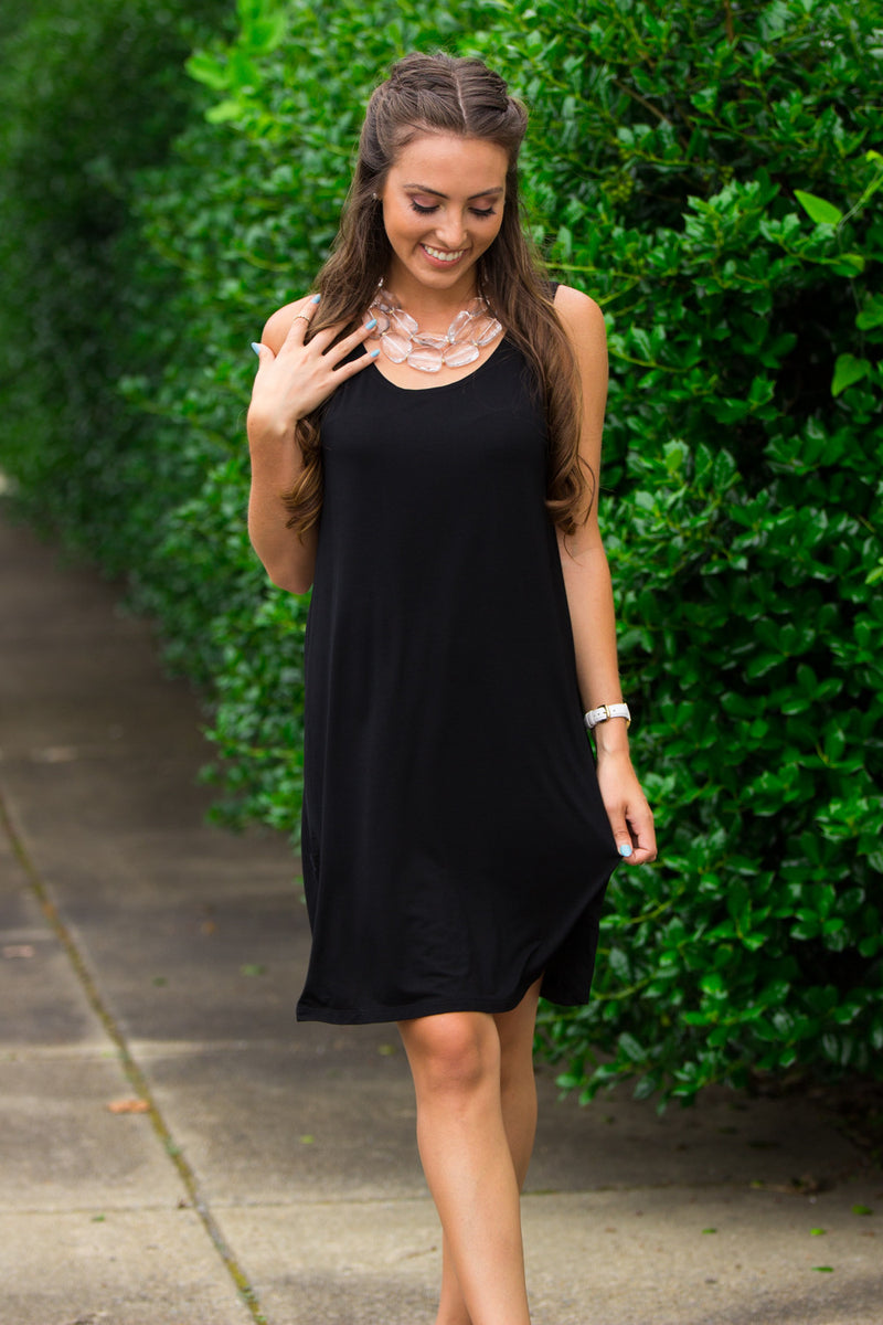 The Perfect Piko Tank Dress-Black