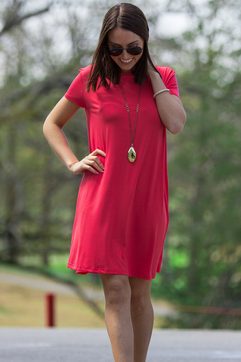 The Perfect Piko Short Sleeve Swing Dress-Watermelon