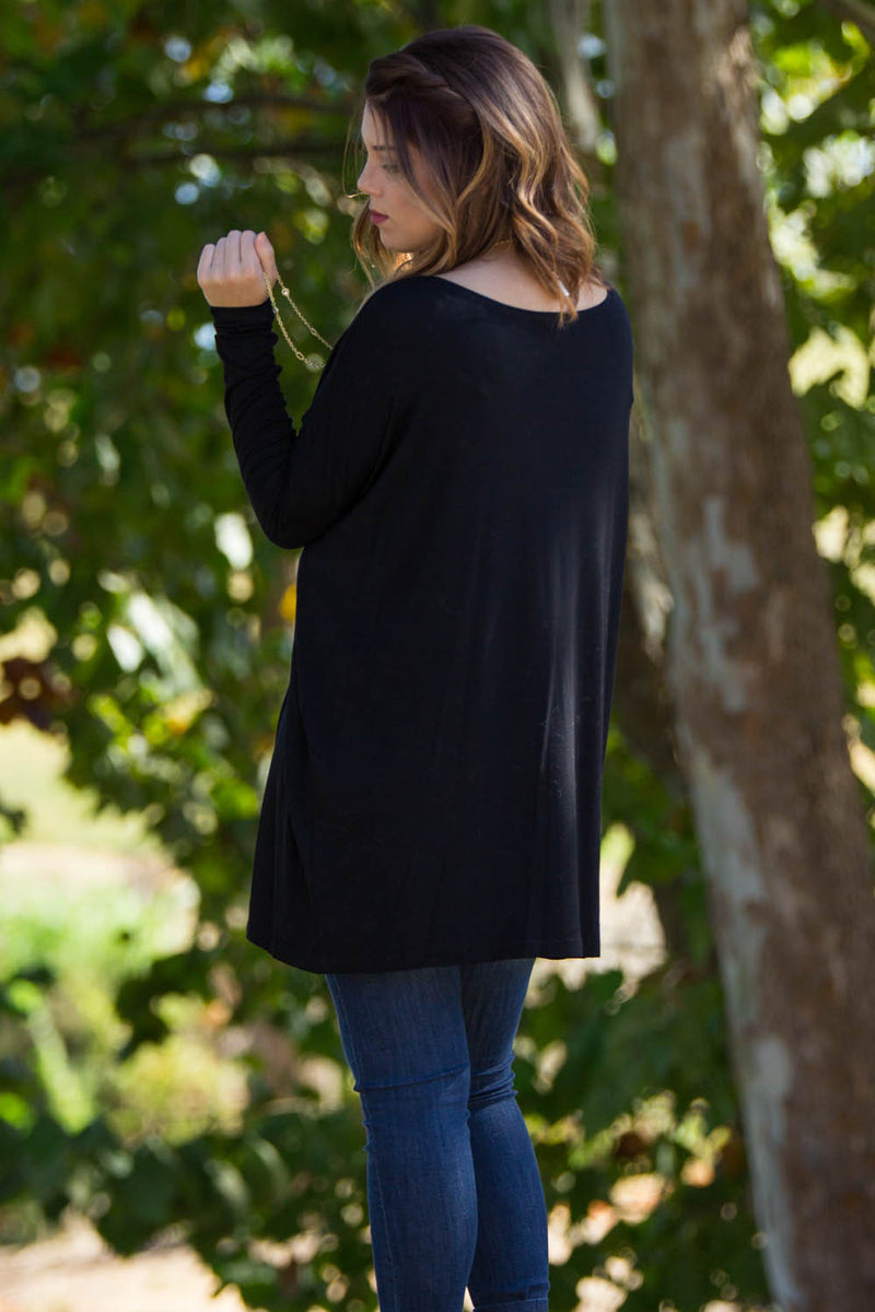 The Perfect Piko Tunic Top-Black