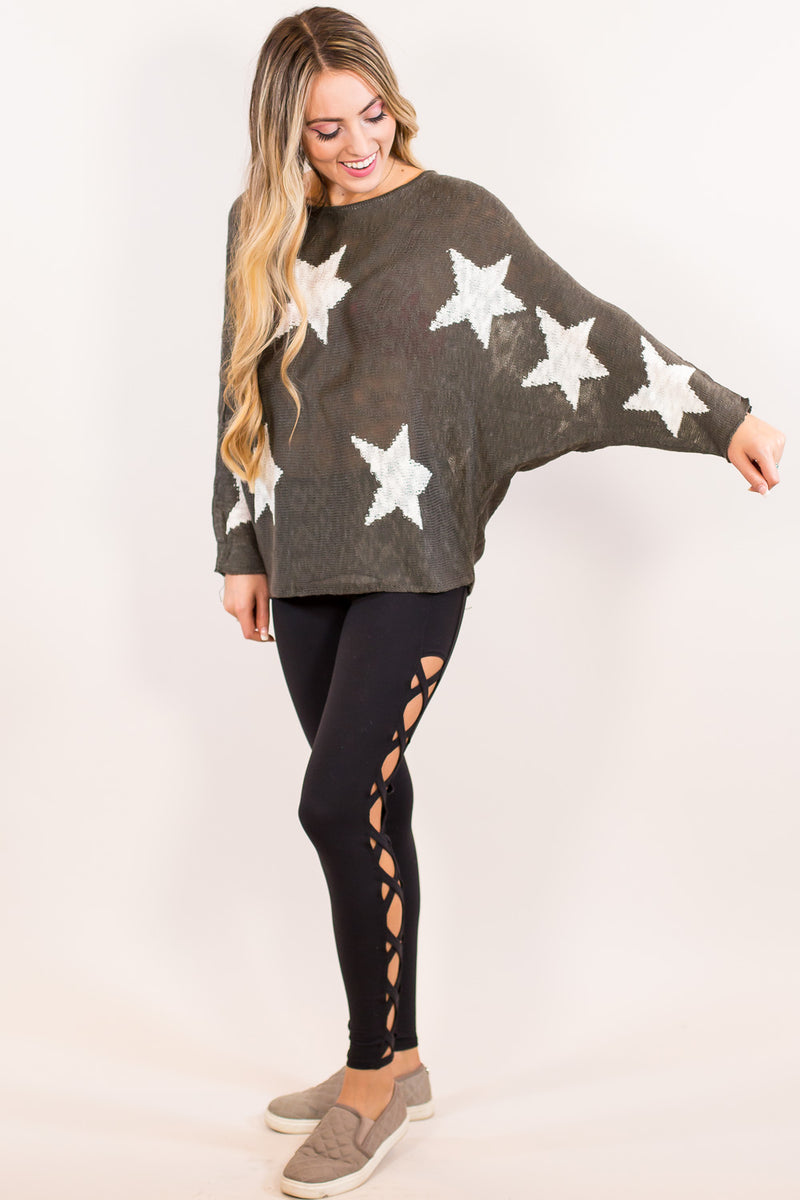 The Stars In The Sky Sweater Top-Olive Grey