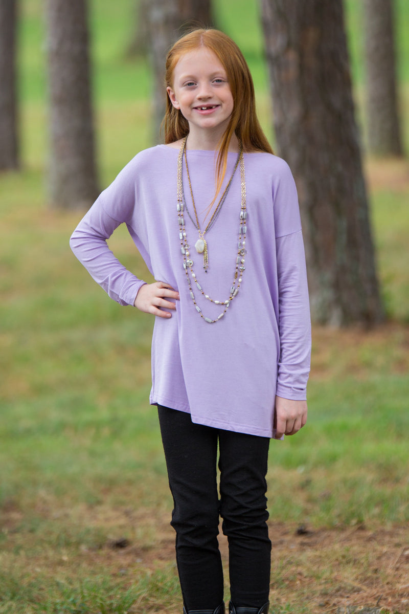 The Perfect Kids Long Sleeve Piko Top-Lilac