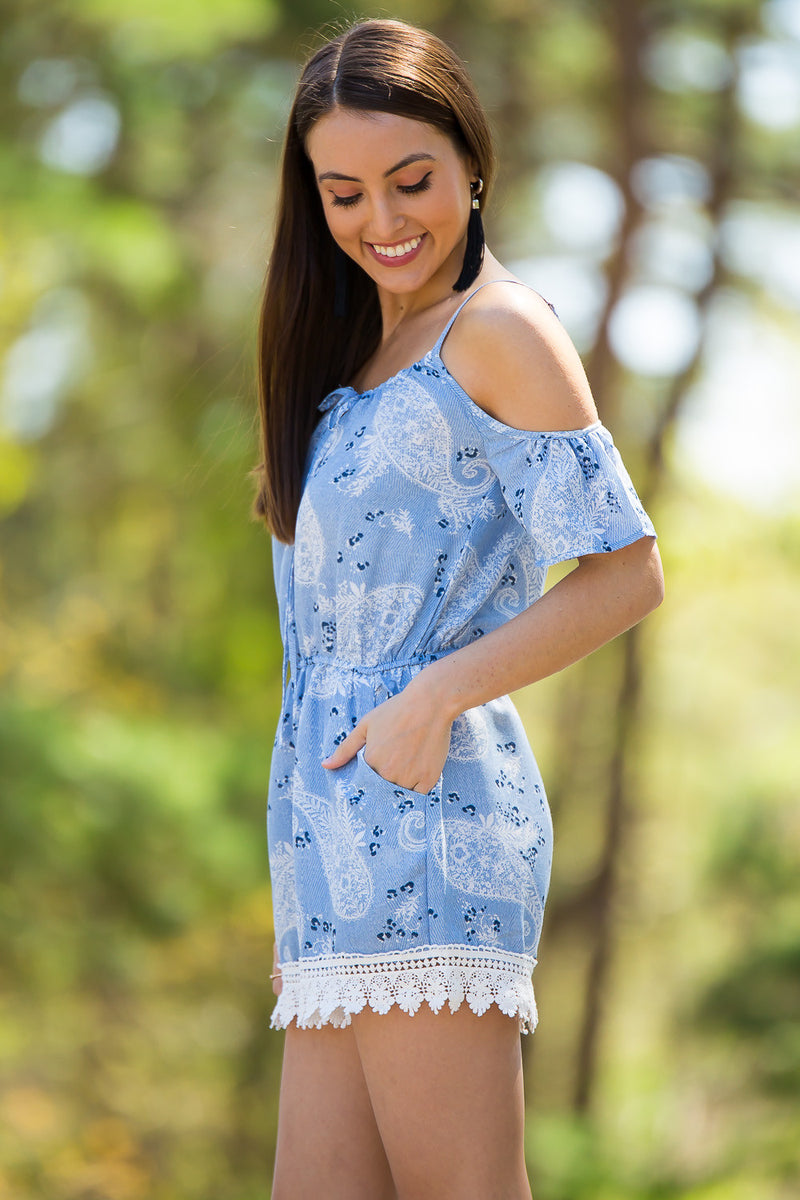 Dreamy Escape Romper-Denim Blue