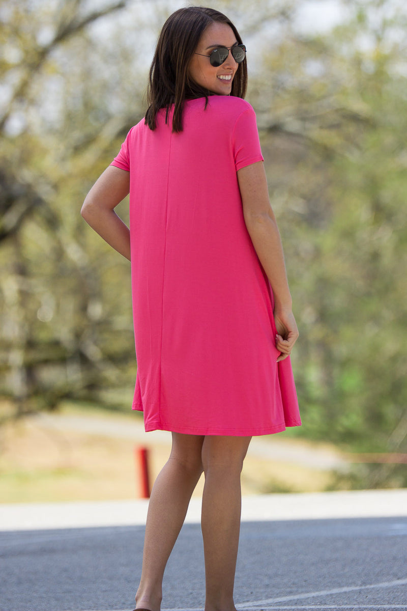 The Perfect Piko Short Sleeve Swing Dress-Coral
