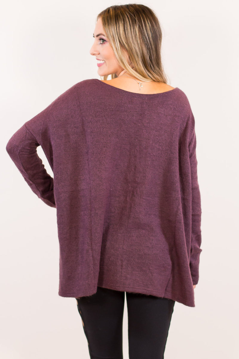 The Perfect Piko Sweater Top-Dusty Purple