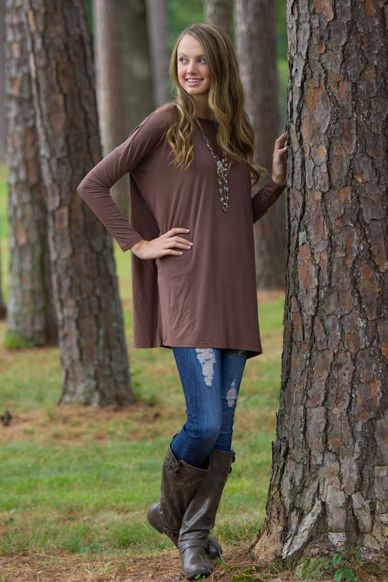The Perfect Piko Tunic Top-Brown