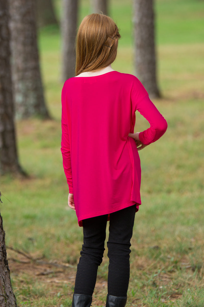 The Perfect Kids Long Sleeve Piko Top-Cherry