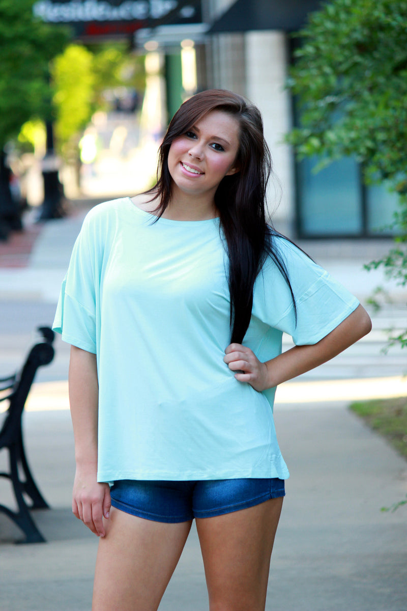 SALE-The Perfect Piko Loose Fit Tee-Mint