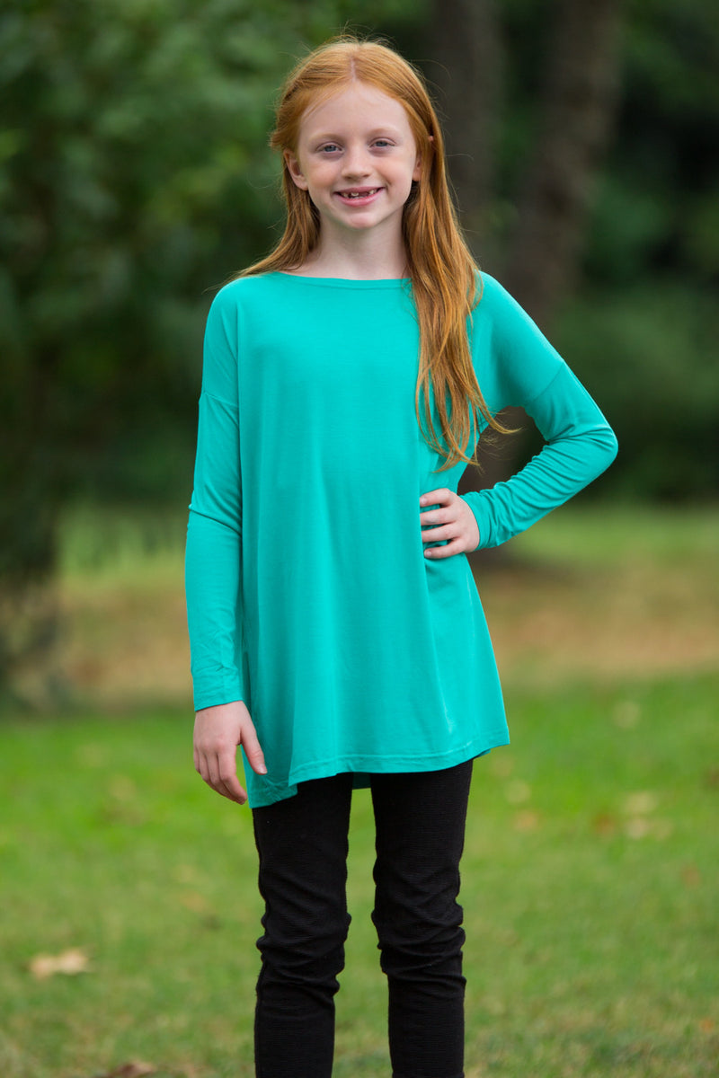 The Perfect Kids Long Sleeve Piko Top-Light Green