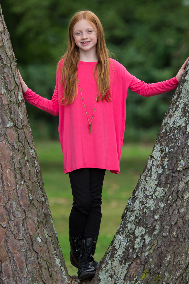 The Perfect Kids Long Sleeve Piko Top-Fuchsia