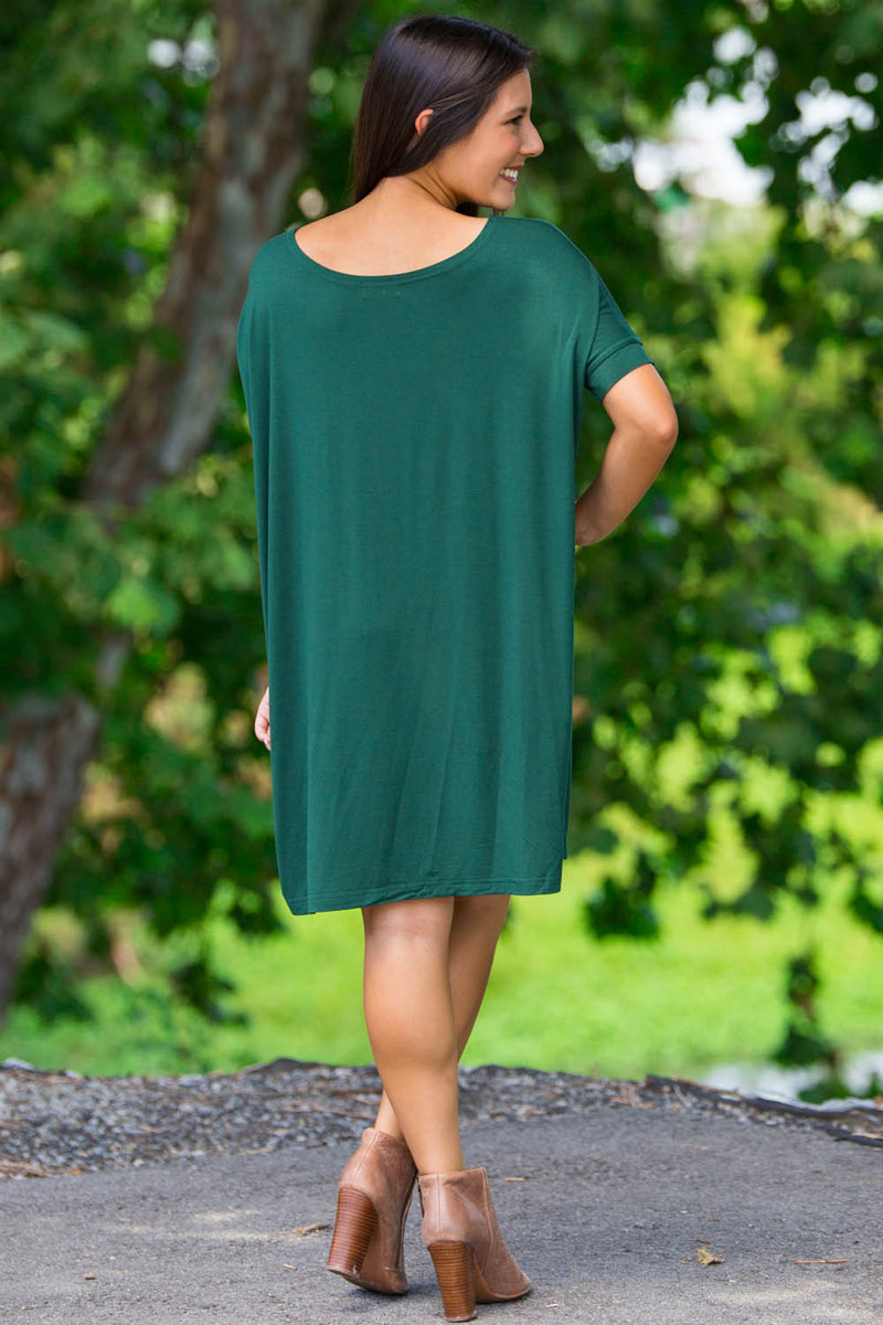 The Perfect Piko Short Sleeve Tunic-Forest Green