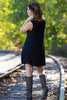 The Perfect Piko Sleeveless Swing Dress-Black