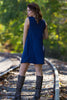 The Perfect Piko Sleeveless Swing Dress-Navy