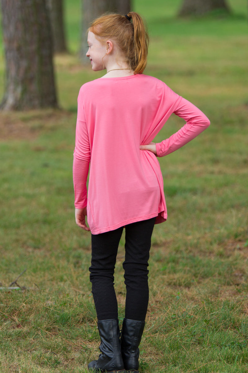 The Perfect Kids Long Sleeve Piko Top-Pink