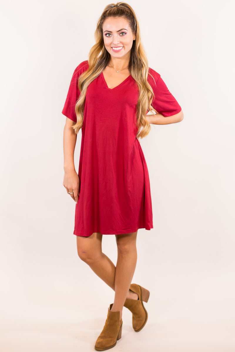 The Perfect Piko Short Sleeve V-Neck Dress-Wine