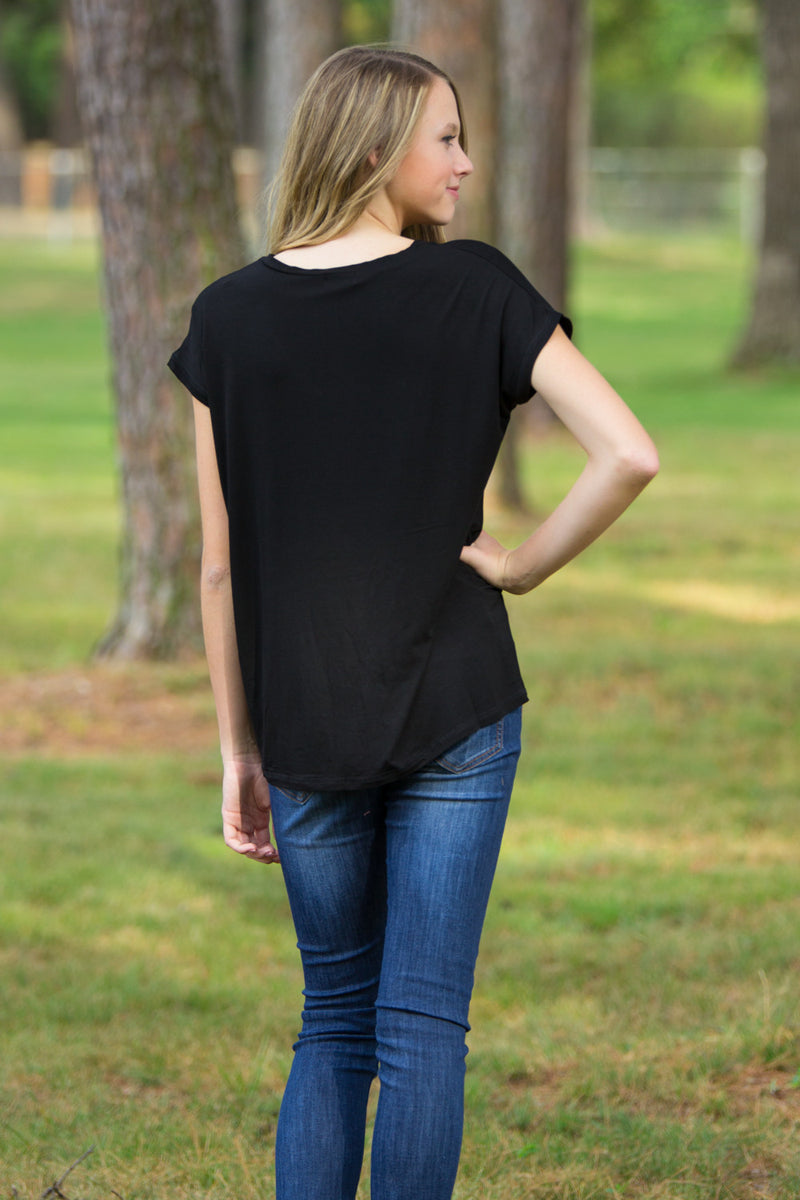 The Perfect Piko Rolled Short Sleeve V-Neck Top-Black