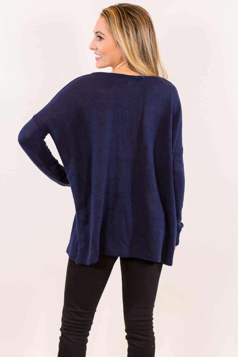 The Perfect Piko V-Neck Sweater Top-Dark Blue