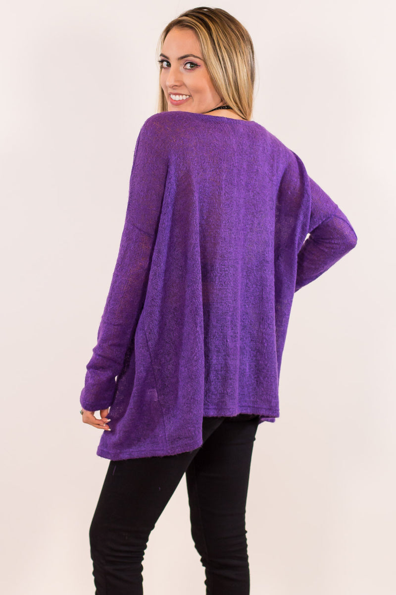 The Perfect Piko Sweater Top-Purple