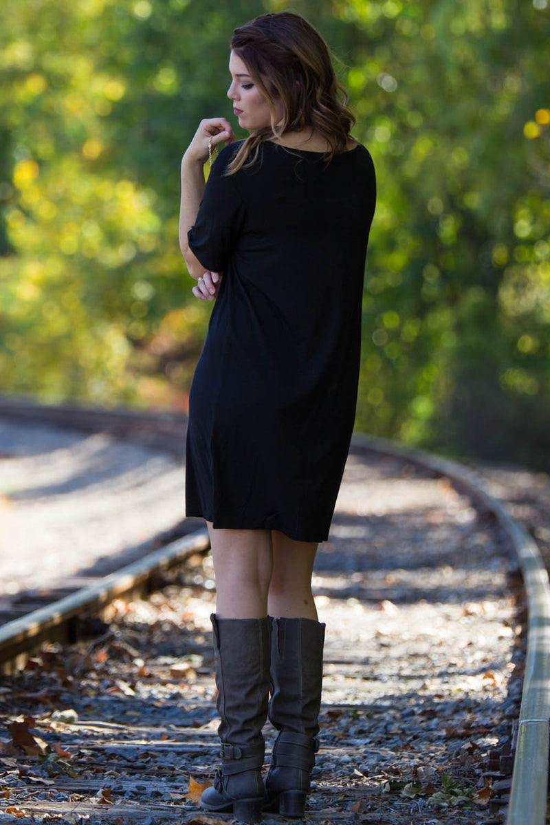 The Perfect Piko Short Sleeve V-Neck Dress-Black