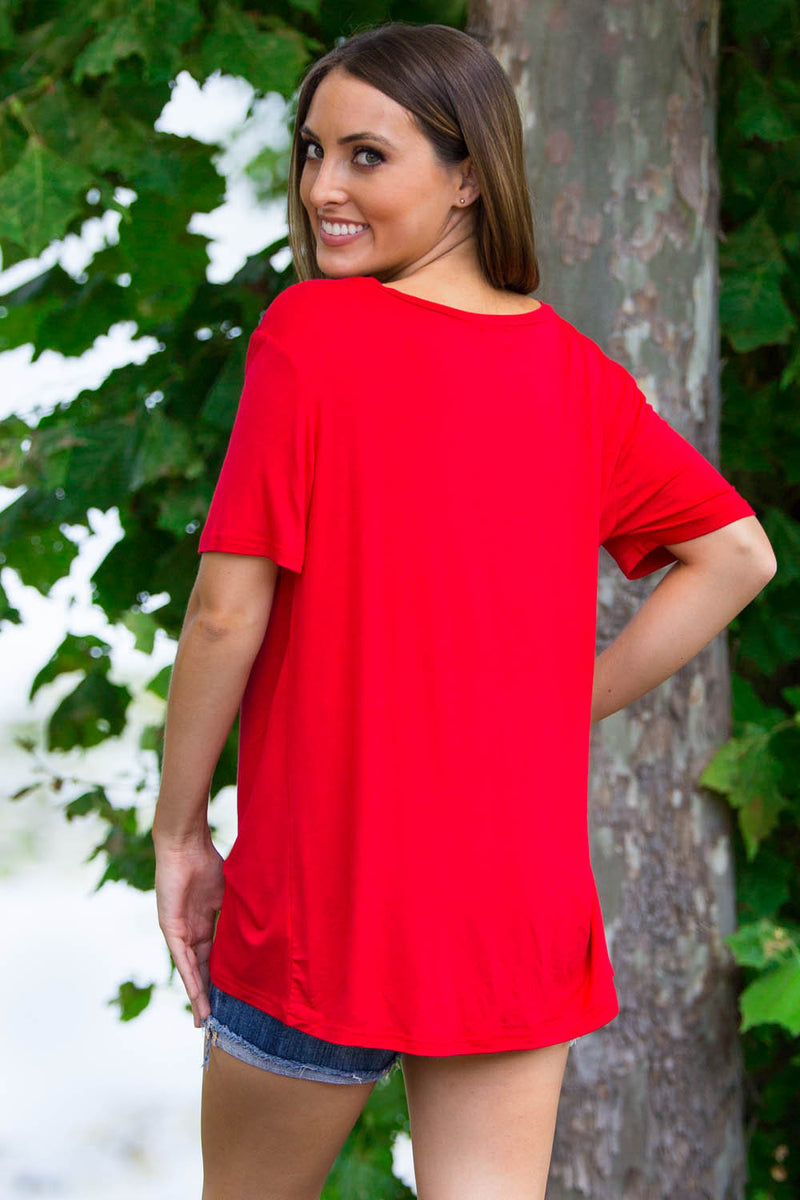 Short Sleeve V-Neck Piko Tee-American Red