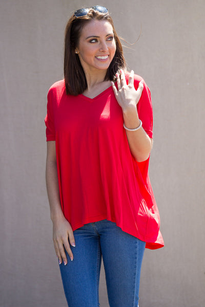 1e49b380604 The Perfect Piko V-Neck Short Sleeve Top-Red – Simply Dixie Boutique