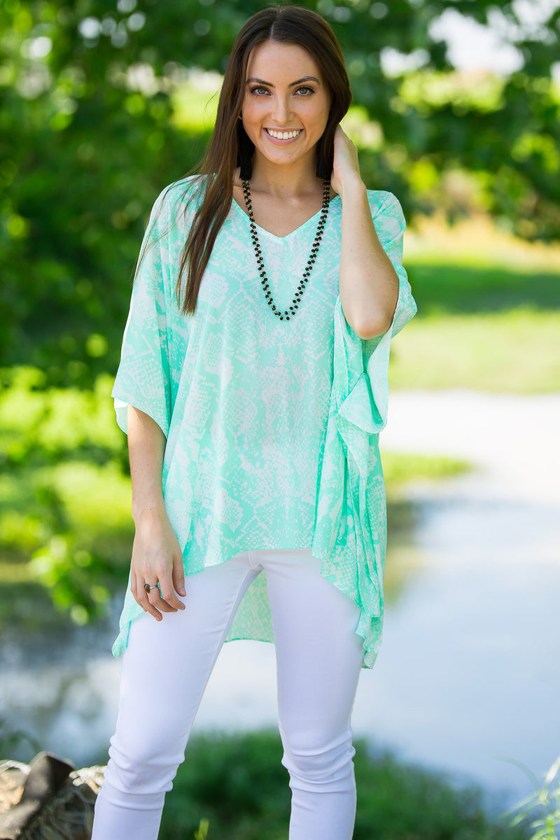 Buddy Love-North Snake Print Top-Mint