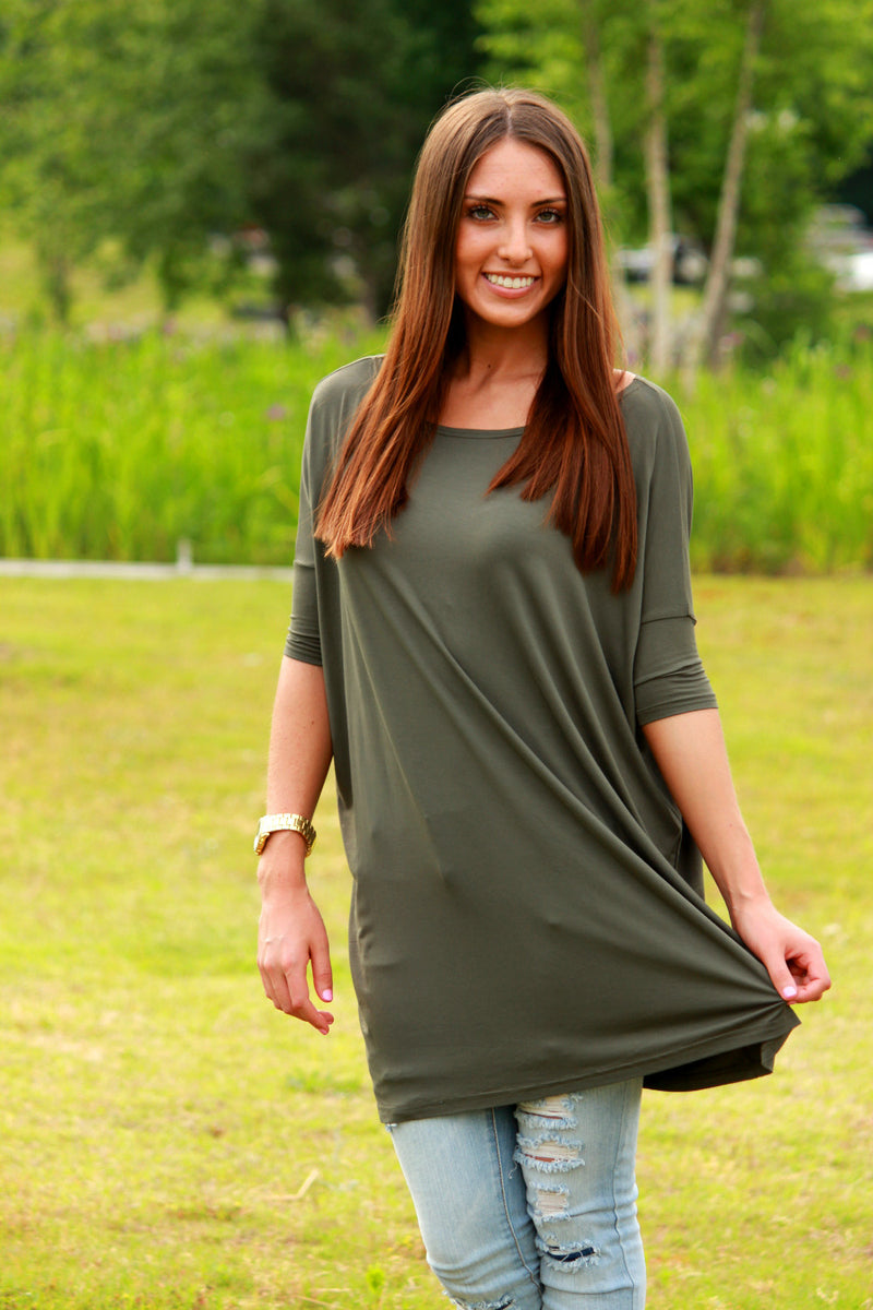 The Perfect Piko Half Sleeve Tunic-Army