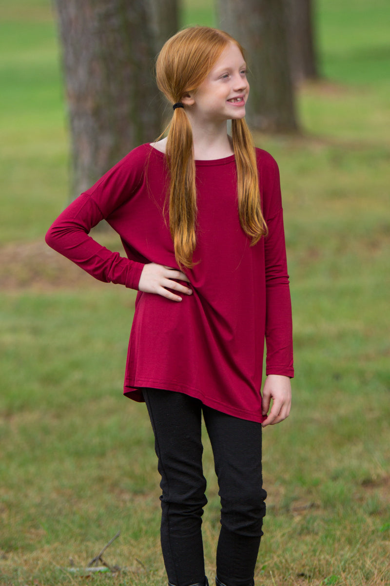 The Perfect Long Sleeve Kids Piko Top-Wine