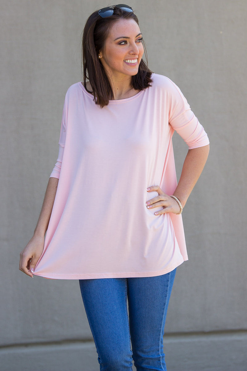 The Perfect Piko 3/4 Sleeve Top-Light Peach