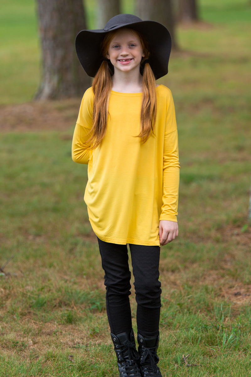 The Perfect Kids Long Sleeve Piko Top-Mustard