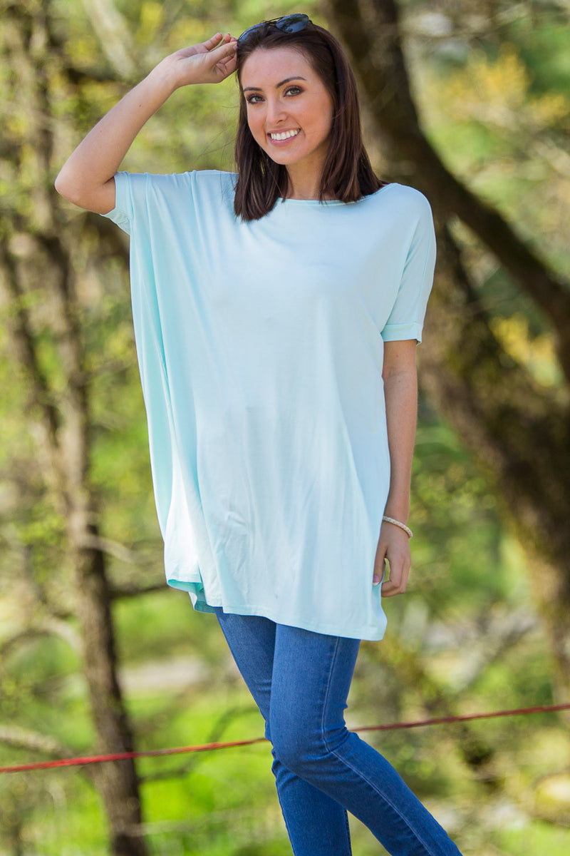 The Perfect Piko Short Sleeve Tunic-Mint