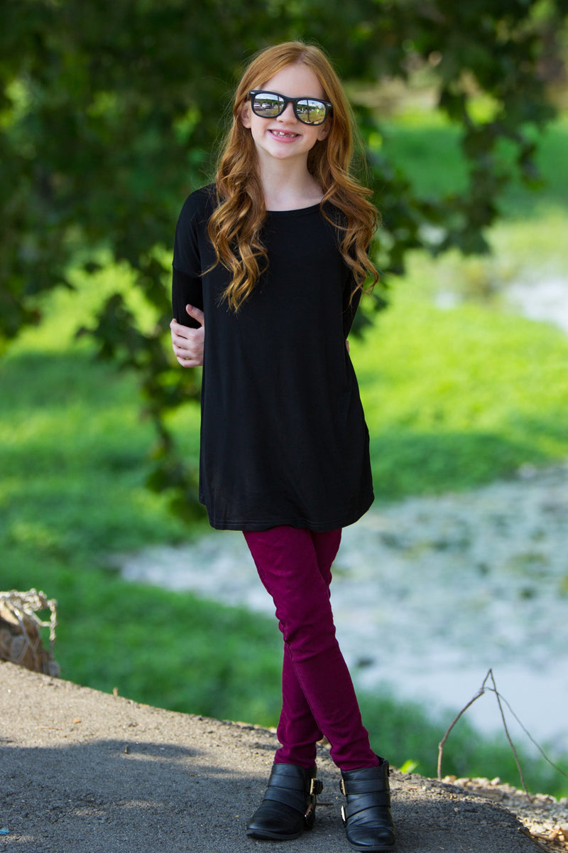 The Perfect Kids Long Sleeve Piko Top-Black