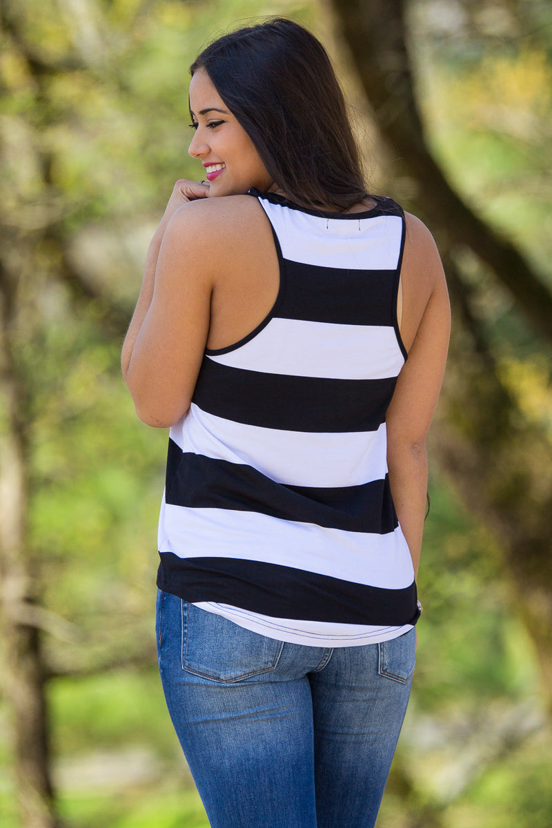 The Perfect Piko Tank Top-Black/White