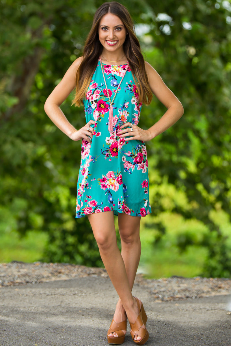 SALE-Everly-Tropical Delight Dress-Teal