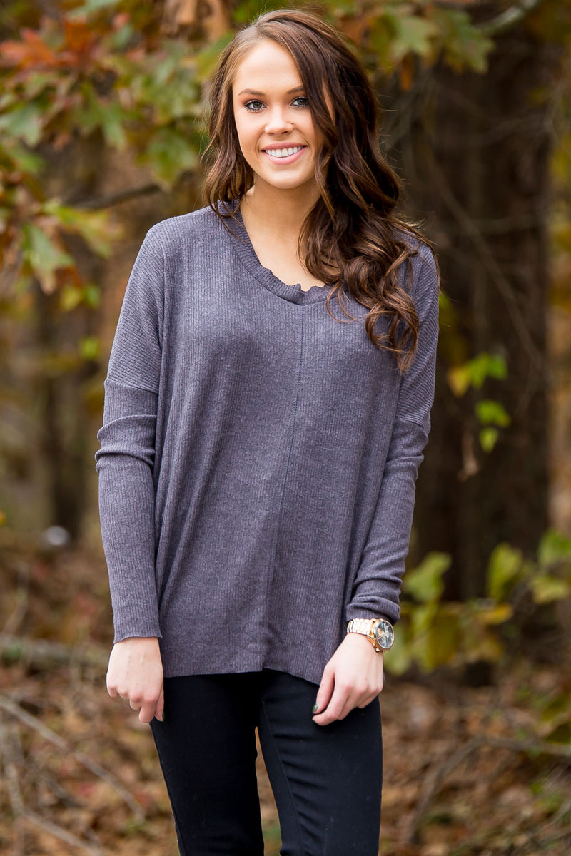 Chalk It Up Sweater - Charcoal