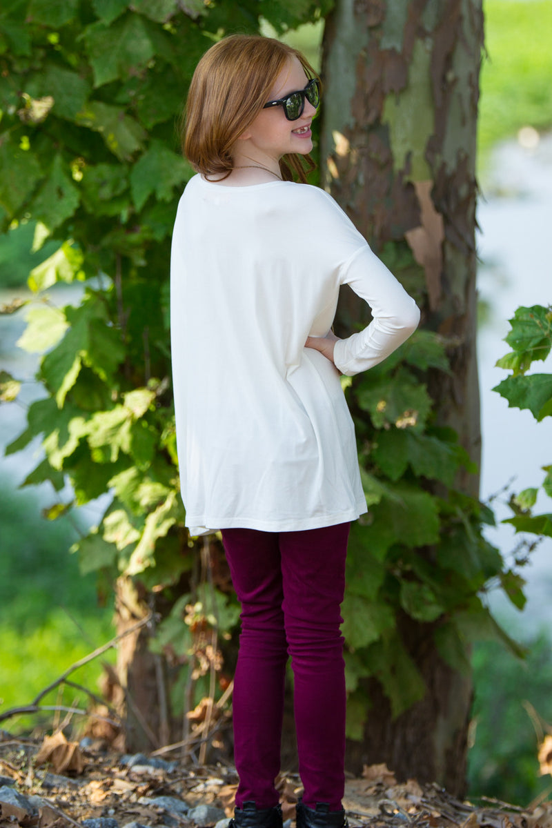 The Perfect Kids Long Sleeve Piko Top-Off White