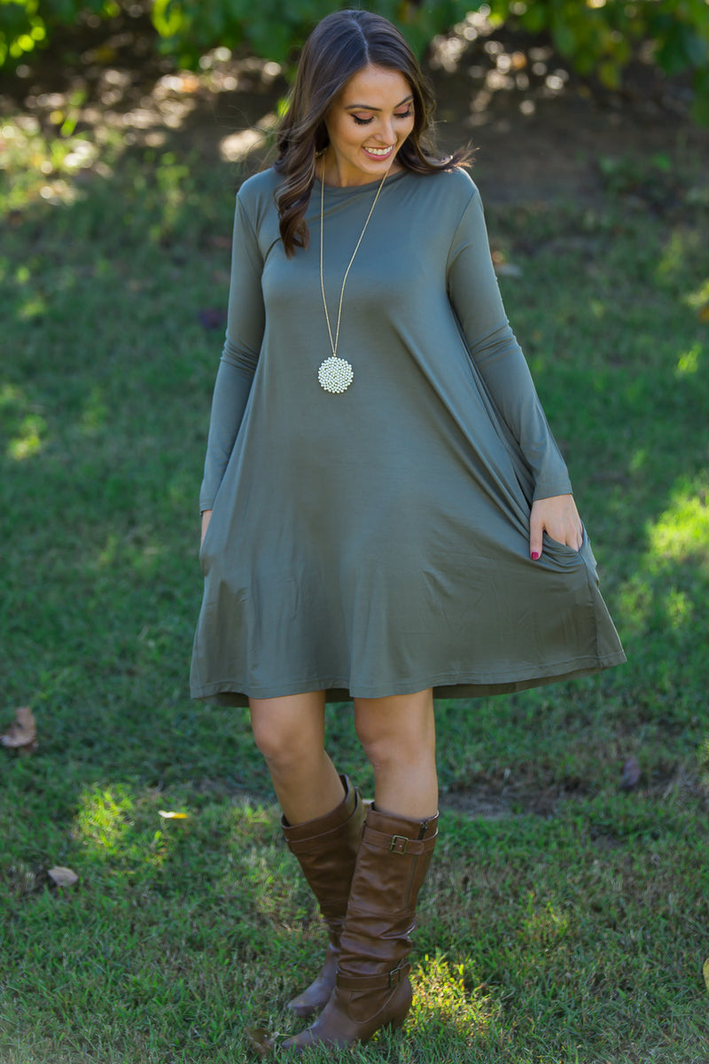 The Perfect Piko Long Sleeve Swing Dress-Army