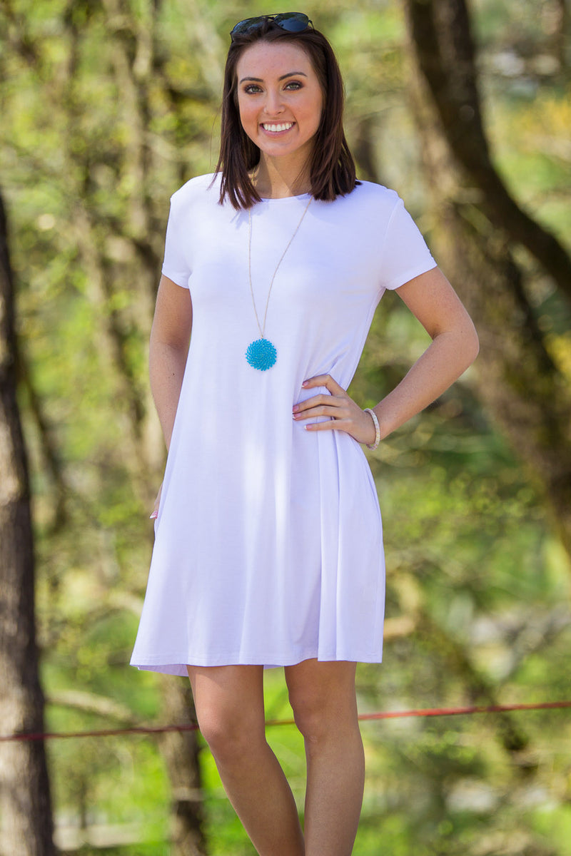 The Perfect Piko Short Sleeve Swing Dress-White