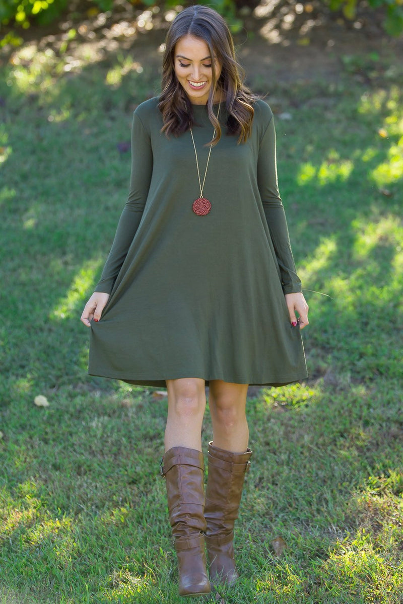The Perfect Piko Long Sleeve Swing Dress-Natural Olive