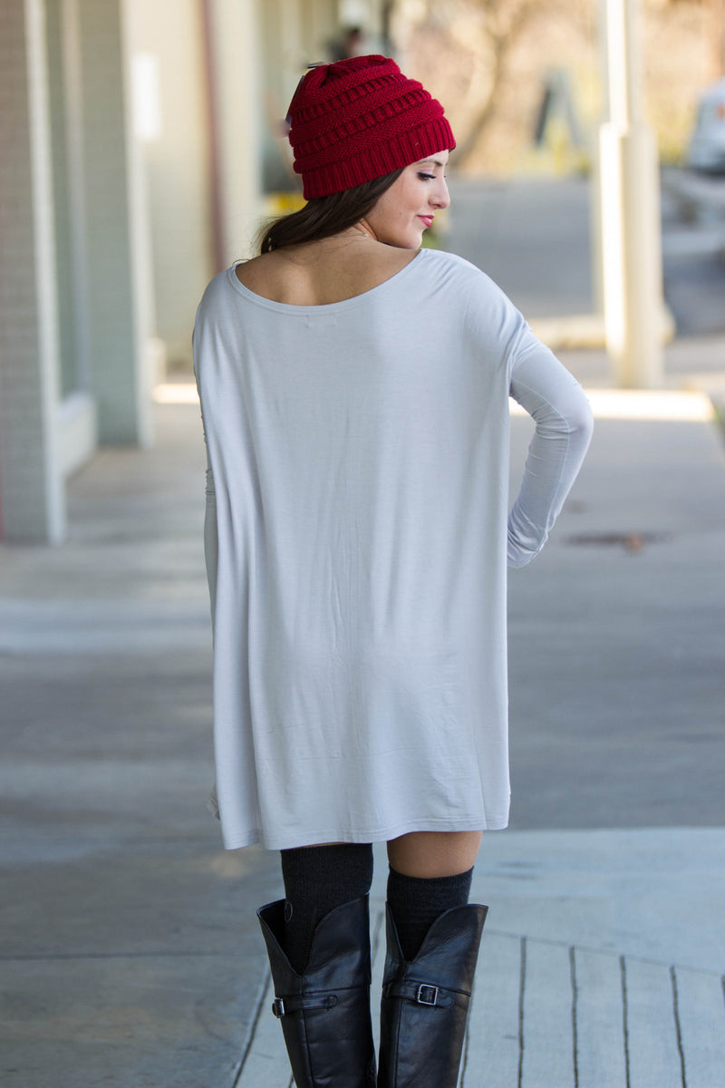 The Perfect Piko Tunic Top-Silver