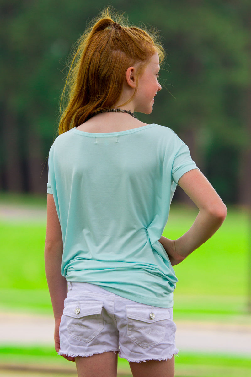 The Perfect Kids Short Sleeve Piko Top-Mint