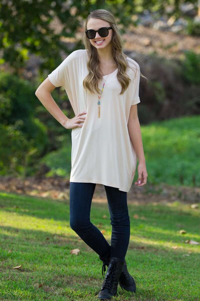 The Perfect Piko Short Sleeve V-Neck Tunic-Cream