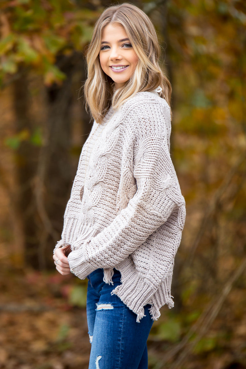 Chunky Distressed Sweater - Stone