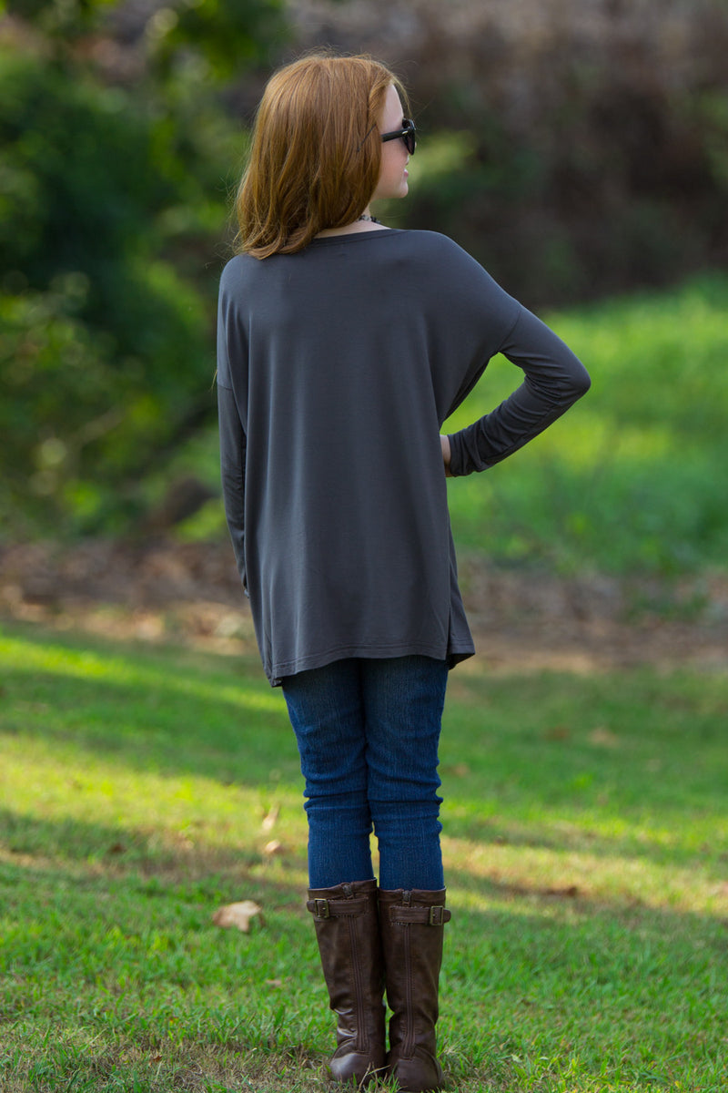The Perfect Kids Long Sleeve Piko Top-Dark Grey