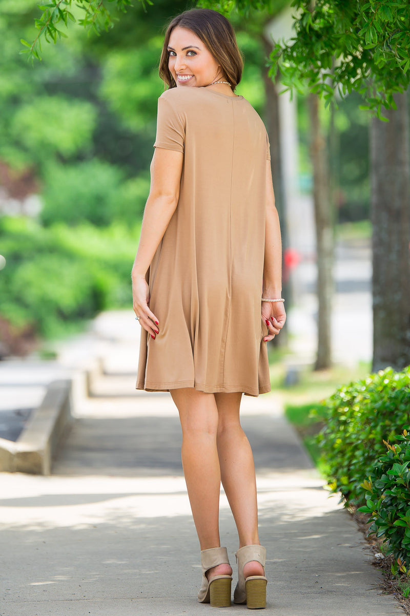 The Perfect Piko Short Sleeve Swing Dress-Camel